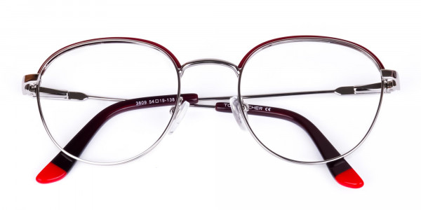 Burgundy-Silver-Round-Aviator-Glasses-6
