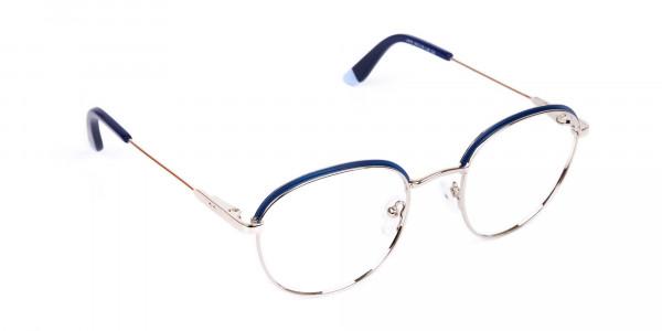 Navy Blue Silver Round Aviator Glasses-2