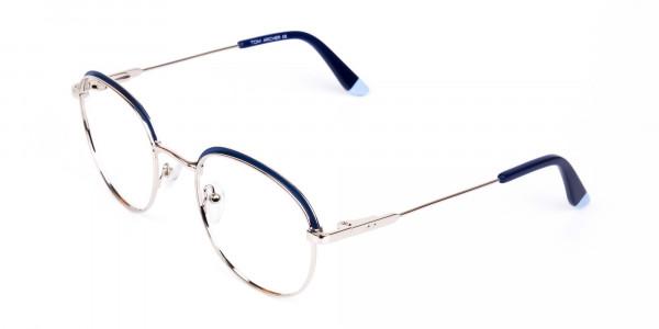 Navy Blue Silver Round Aviator Glasses-3
