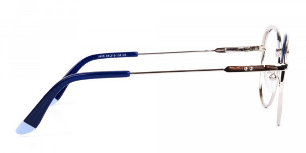 Navy Blue Silver Round Aviator Glasses-4