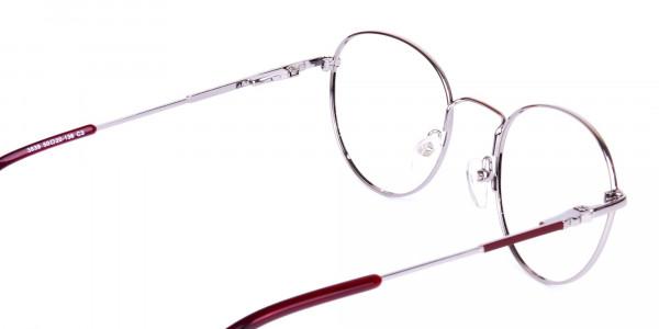 Stylish-Burgundy-and-Silver-Round-Glasses-5