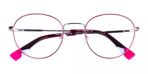 Stylish-Burgundy-and-Silver-Round-Glasses-6