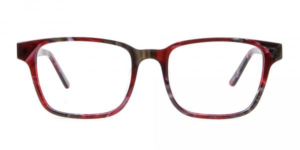 Burgundy & Brown Rectangular Glasses