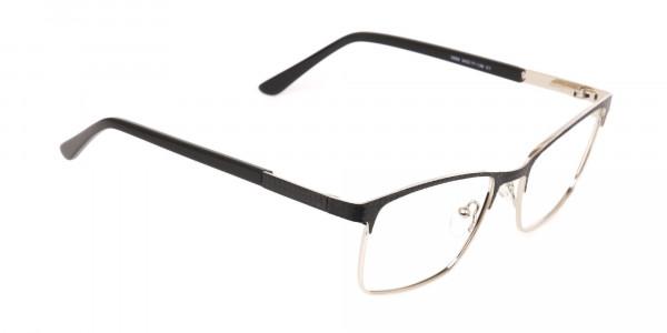 Black Silver Metal Rectangular Glasses Frame-2