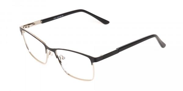 Black Silver Metal Rectangular Glasses Frame-3