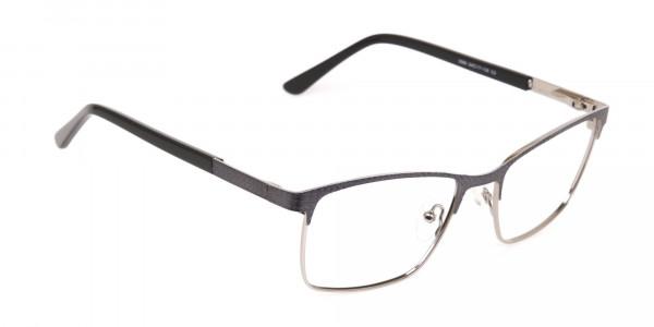 Black and Silver Grey Gunmetal Rectangle Glasses-2