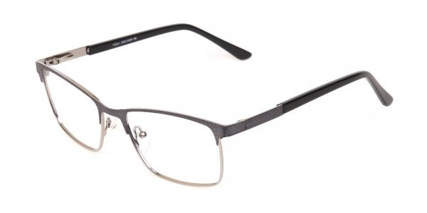 Black and Silver Grey Gunmetal Rectangle Glasses-3