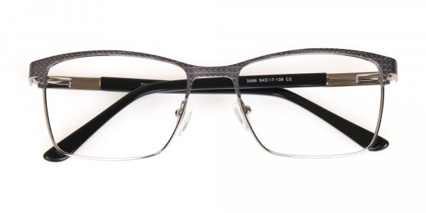 Black and Silver Grey Gunmetal Rectangle Glasses-6