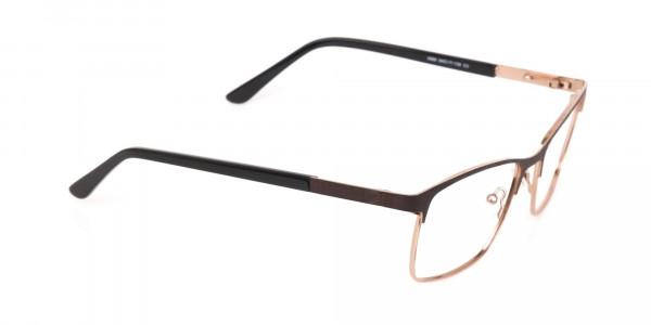 Bronze Brown, Black & Gold Rectangular Glasses-2