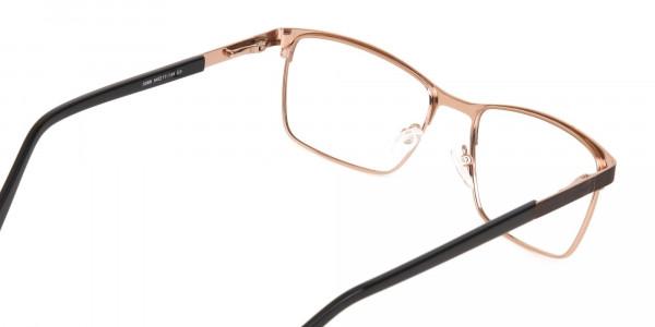 Bronze Brown, Black & Gold Rectangular Glasses-5