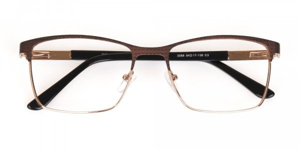 Bronze Brown, Black & Gold Rectangular Glasses-6
