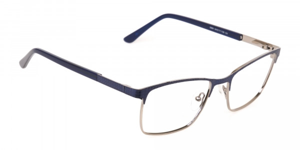 Royal Blue & Gunmetal Rectangular Metal Glasses-2