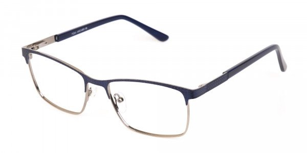 Royal Blue & Gunmetal Rectangular Metal Glasses-3