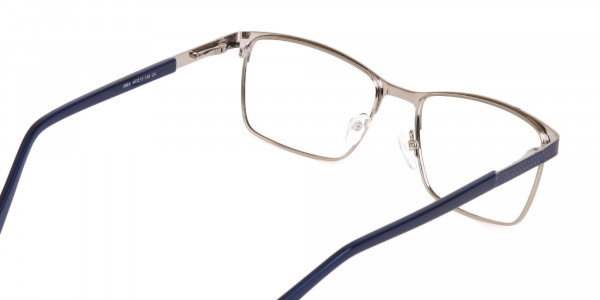Royal Blue & Gunmetal Rectangular Metal Glasses-5