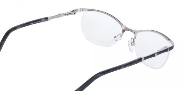 Matte Black Marble Metal Oval Cateye Glasses Women-5