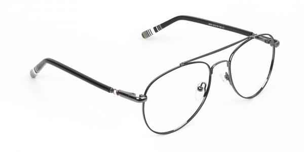 Aviator Gunmetal Black Fine Metal Glasses  - 2