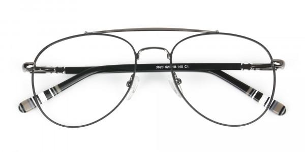 Aviator Gunmetal Black Fine Metal Glasses - 6