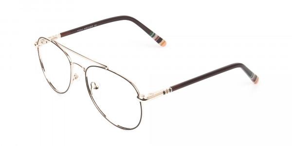 Aviator Dark Brown Gold Fine Metal Glasses - 3