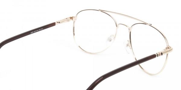 Aviator Dark Brown Gold Fine Metal Glasses - 5