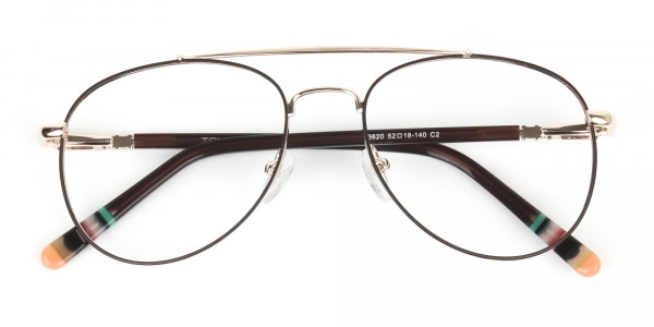 Aviator Dark Brown Gold Fine Metal Glasses - 6