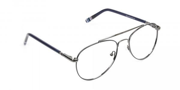 Aviator Gunmetal Dark Blue Fine Metal Glasses - 2