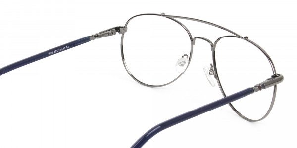 Aviator Gunmetal Dark Blue Fine Metal Glasses - 5