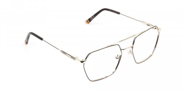 Hipster Geometric Gold & Brown Thin Metal Frame Glasses  - 2