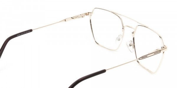 Hipster Geometric Gold & Brown Thin Metal Frame Glasses  - 5