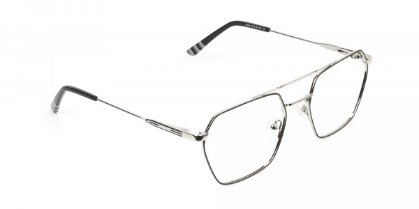 Black & Silver Thin Metal Glasses in Hipster Geometric Frame - 2