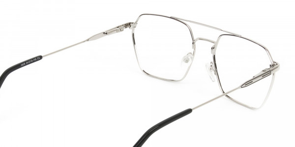 Black & Silver Thin Metal Glasses in Hipster Geometric Frame - 5