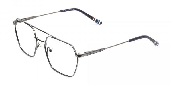 Dark Navy & Gunmetal Thin Metal Glasses - 3