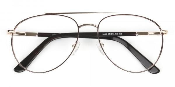 Ultralight Aviator Gold & Brown Glasses - 6