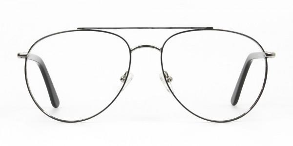 Ultralight Aviator Silver & Black Glasses - 1