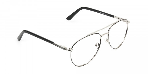 Ultralight Aviator Silver & Black Glasses - 2