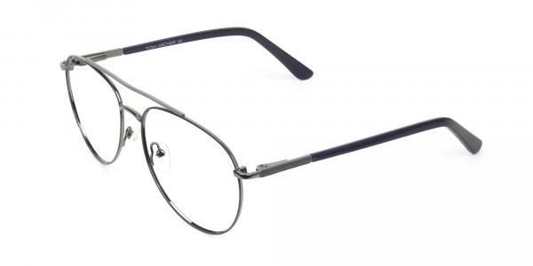 Ultralight Aviator Gunmetal Navy Blue Glasses - 3