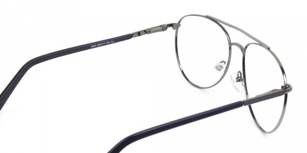 Ultralight Aviator Gunmetal Navy Blue Glasses - 5