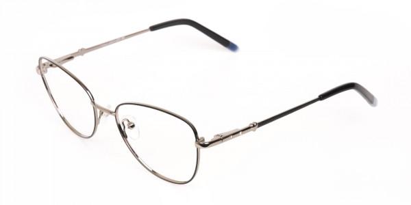 Black & Silver Metal Cat Eye Glasses Women-3