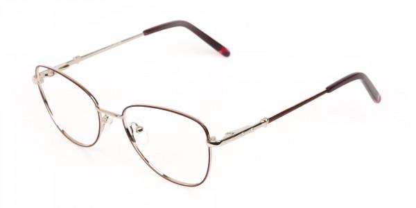 Black & Silver, Red  Metal Cat Eye Glasses Women-3