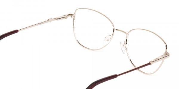 Black & Silver, Red  Metal Cat Eye Glasses Women-5