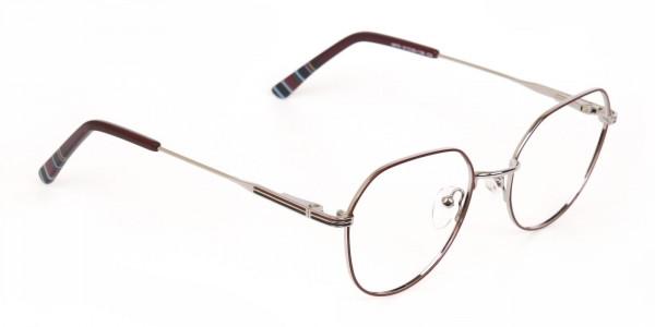 Red, Burgundy & Silver Wayfarer Metal Glasses-2