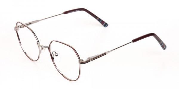 Red, Burgundy & Silver Wayfarer Metal Glasses-3