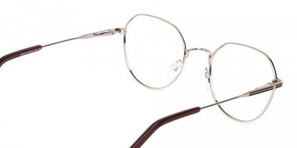 Red, Burgundy & Silver Wayfarer Metal Glasses-5