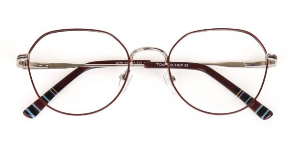 Red, Burgundy & Silver Wayfarer Metal Glasses-6