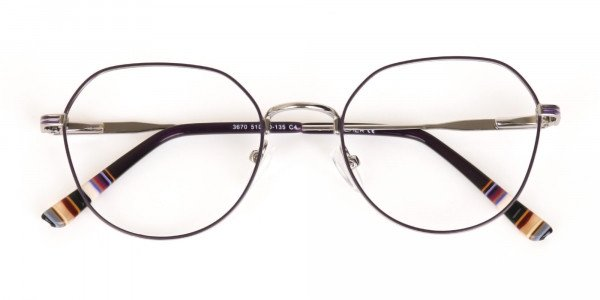 Raisin Purple & Silver Wayfarer Metal Glasses-6