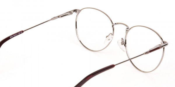 Red, Burgundy & Silver Metal Round Glasses-5