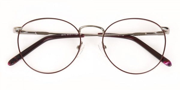 Red, Burgundy & Silver Metal Round Glasses-6