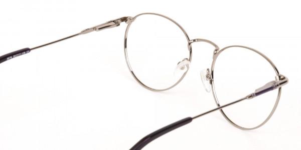 Raisin Purple & Silver Round Glasses in Metal -5
