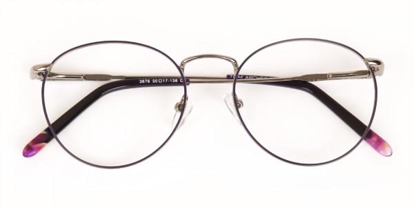 Raisin Purple & Silver Round Glasses in Metal -6