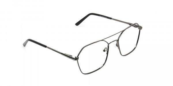 Geometric Aviator Black Gunmetal Spectacles - 2