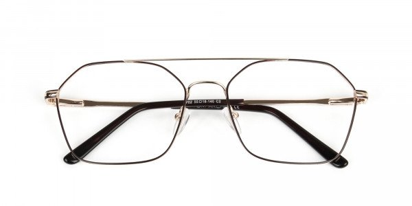 Geometric Aviator Brown & Gold Spectacles - 6